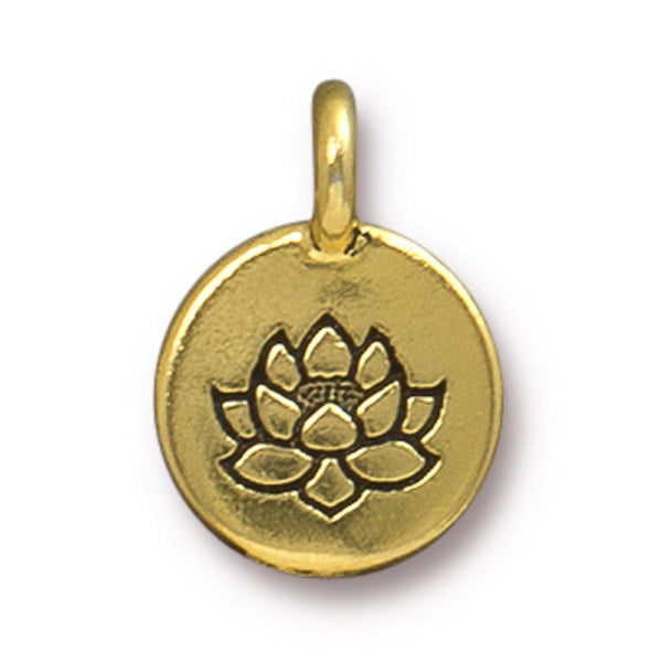 Antiqued Gold Lotus Charm (16x12mm)