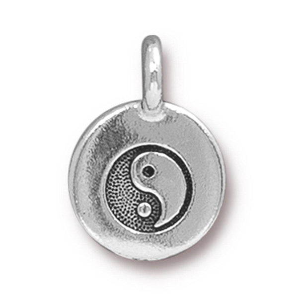 Antiqued Silver Yin Yang Charm (16x12mm)