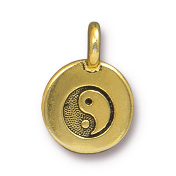 Antiqued Gold Yin Yang Charm (16x12mm)
