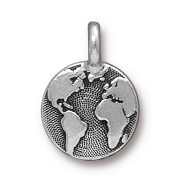 Antiqued Silver Earth Charm (16x12mm)
