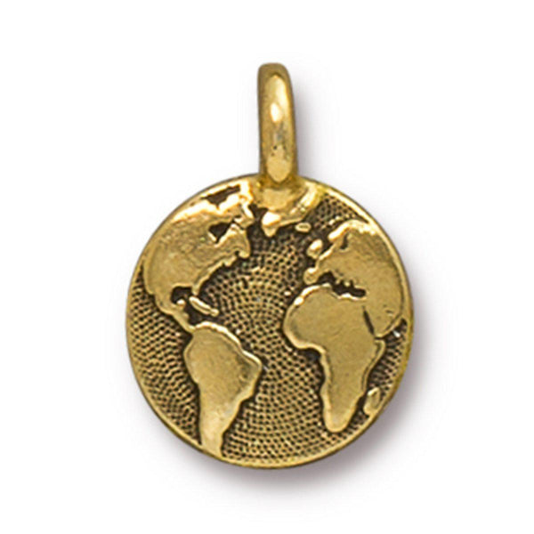 Antiqued Gold Earth Charm (16x12mm)