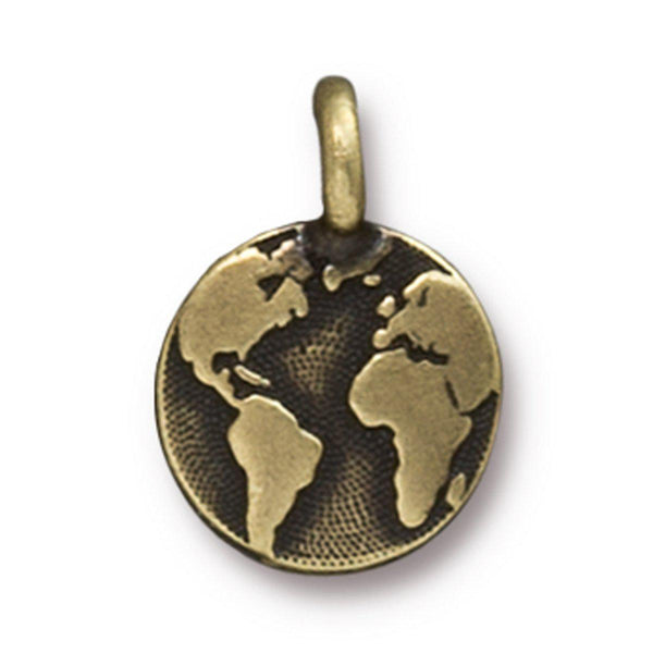 Antiqued Brass Earth Charm (16x12mm)
