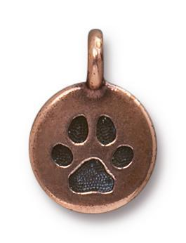 Antiqued Copper Puppy Paw Charm (16x12mm)
