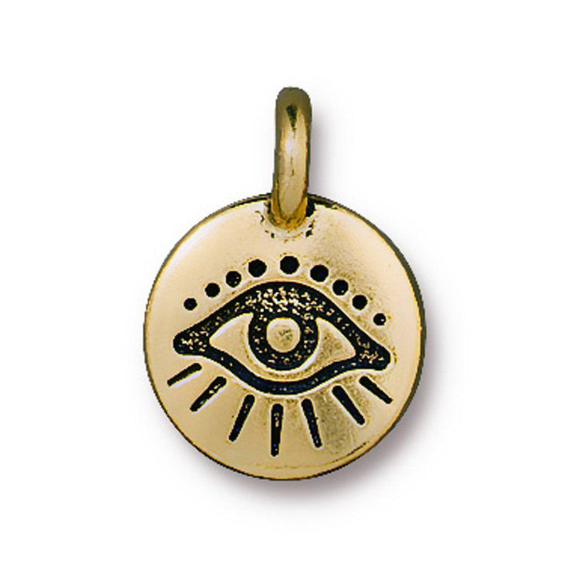 Antiqued Gold Evil Eye Charm (16x12mm)