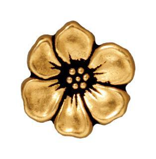Antiqued Gold Apple Blossom Button (16x5mm)