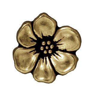 Antiqued Brass Apple Blossom Button (16x5mm)
