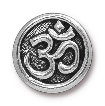Antiqued Silver Om Button (17mm)