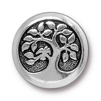 Antiqued Silver Bird in a Tree Button (17mm)