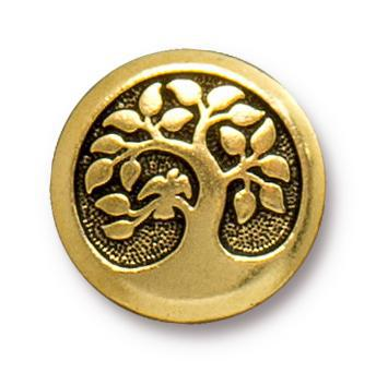 Antiqued Gold Bird in a Tree Button (17mm)