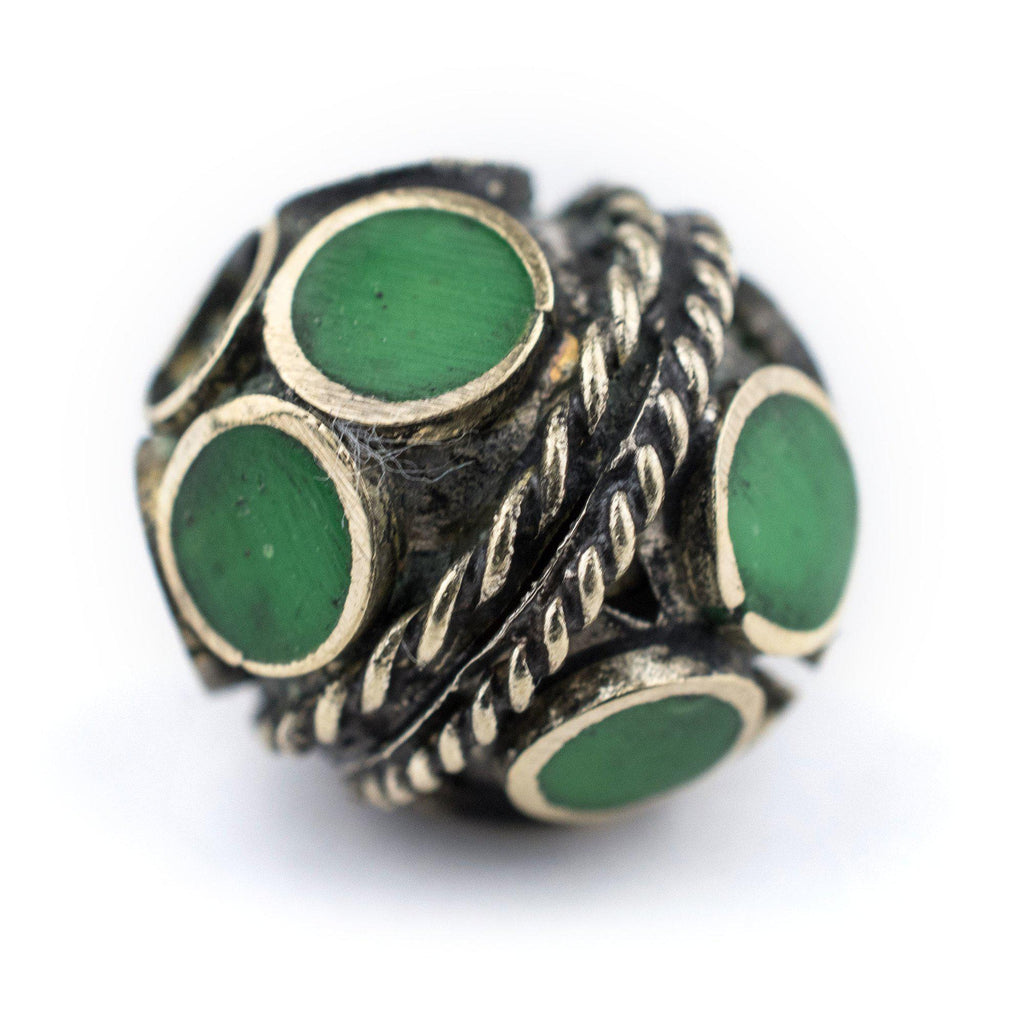 Emerald-Inlaid Afghan Tribal Silver Bead (16mm) - The Bead Chest
