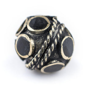 Onyx-Inlaid Afghan Tribal Silver Bead (16mm) - The Bead Chest