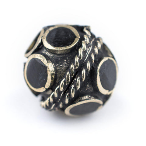 Image of Onyx-Inlaid Afghan Tribal Silver Bead (16mm) - The Bead Chest
