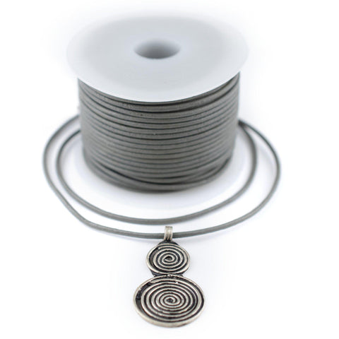 1.5mm Grey Round Leather Cord (75ft)