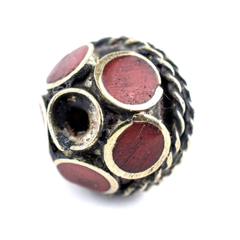 Coral-Inlaid Afghan Tribal Silver Bead (16mm) - The Bead Chest