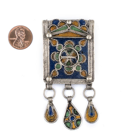 Enamel Peacock Berber Pendant w/ Dangles - The Bead Chest