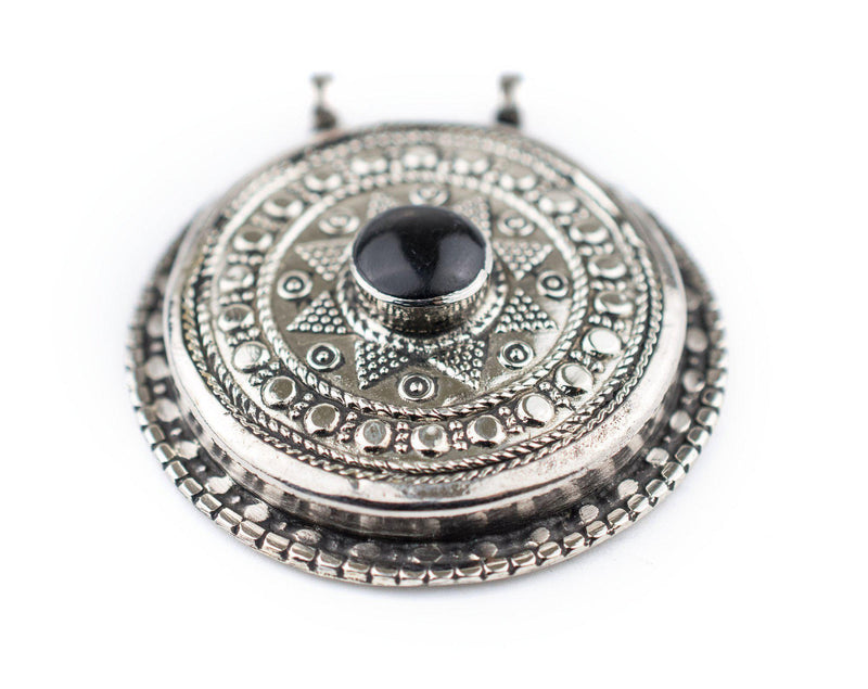 Onyx-Inlaid Afghan Tribal Pendant (42x46mm) - The Bead Chest