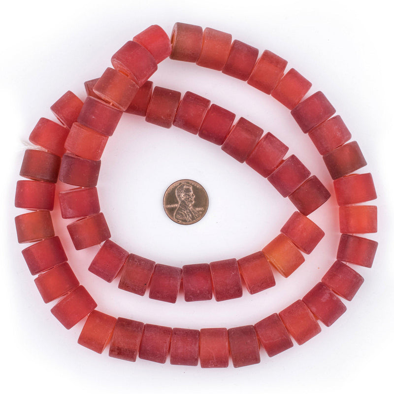 Red Recycled Glass Beads (Tabular) - The Bead Chest