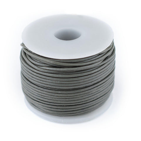 0.8mm Grey Round Leather Cord (75ft)