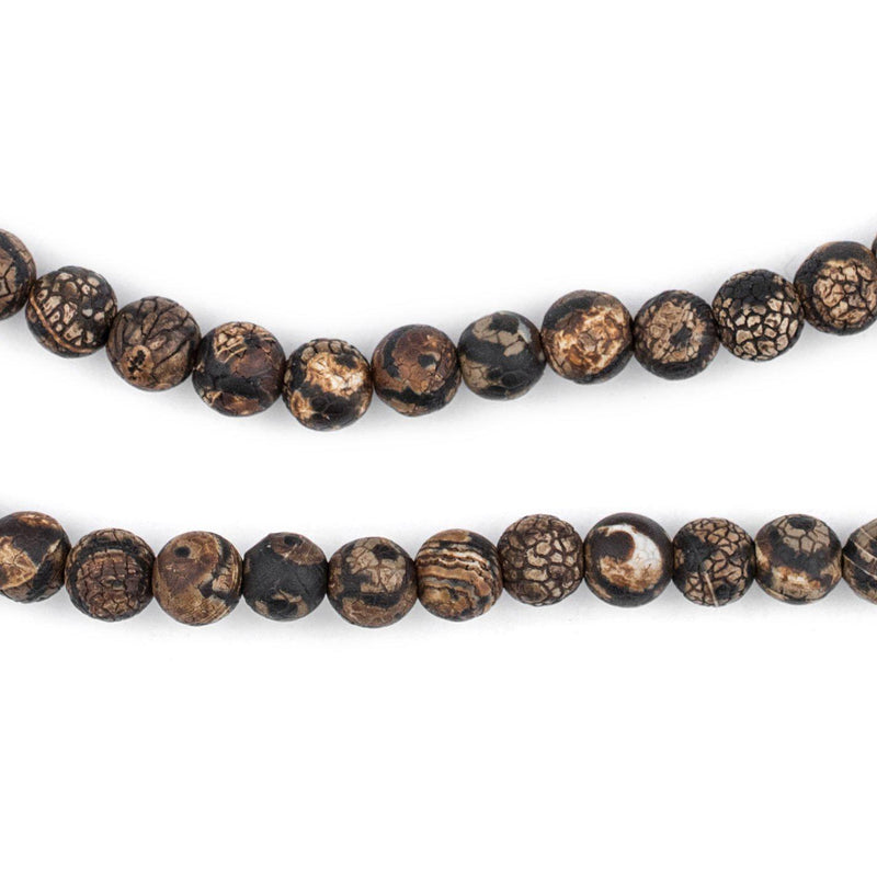Crackled Eye Round Tibetan Agate Beads (6mm) - The Bead Chest
