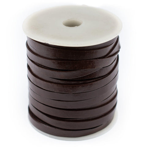 6.0mm Dark Brown Flat Leather Cord (75ft)