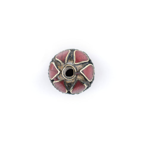 Coral-Inlaid Afghan Tribal Silver Bead (20mm) - The Bead Chest
