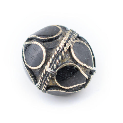 Image of Onyx-Inlaid Afghan Tribal Silver Bead (20mm) - The Bead Chest