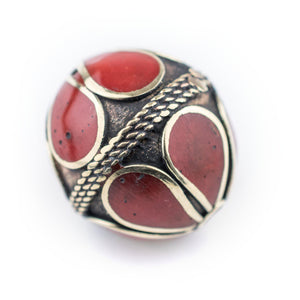 Coral-Inlaid Afghan Tribal Silver Bead (25mm) - The Bead Chest