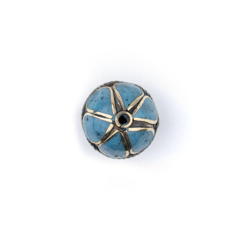 Image of Turquoise-Inlaid Afghan Tribal Silver Bead (25mm) - The Bead Chest