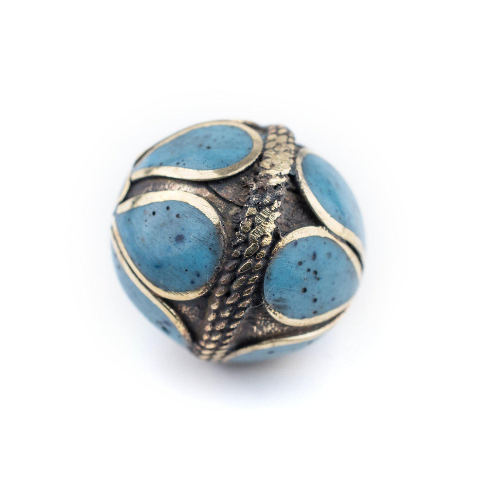 Turquoise-Inlaid Afghan Tribal Silver Bead (25mm) - The Bead Chest