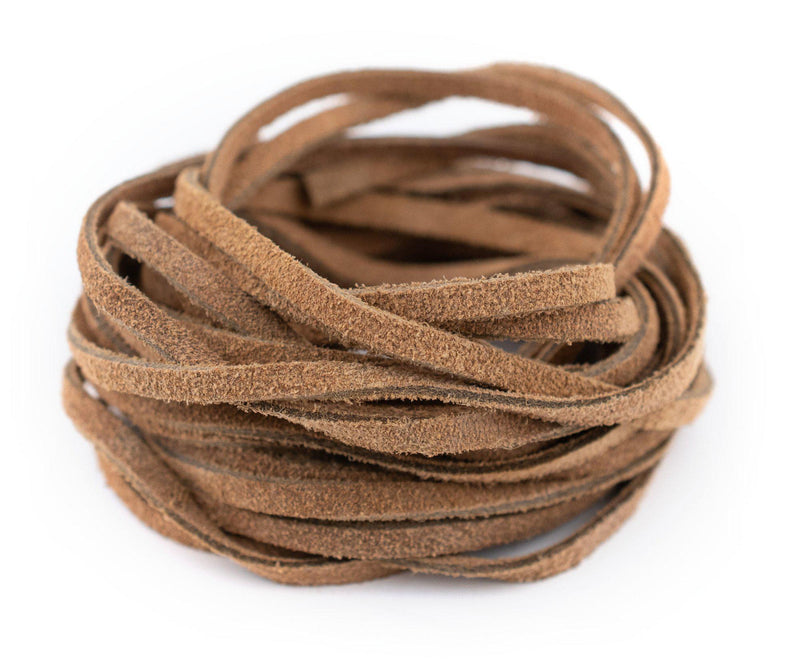 3.0mm Tan Flat Suede Leather Cord (15ft)