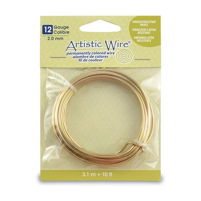 12 Gauge Tarnish Resistant Brass Artistic Wire (10ft) - The Bead Chest