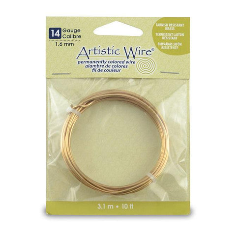 14 Gauge Tarnish Resistant Brass Artistic Wire (10ft) - The Bead Chest