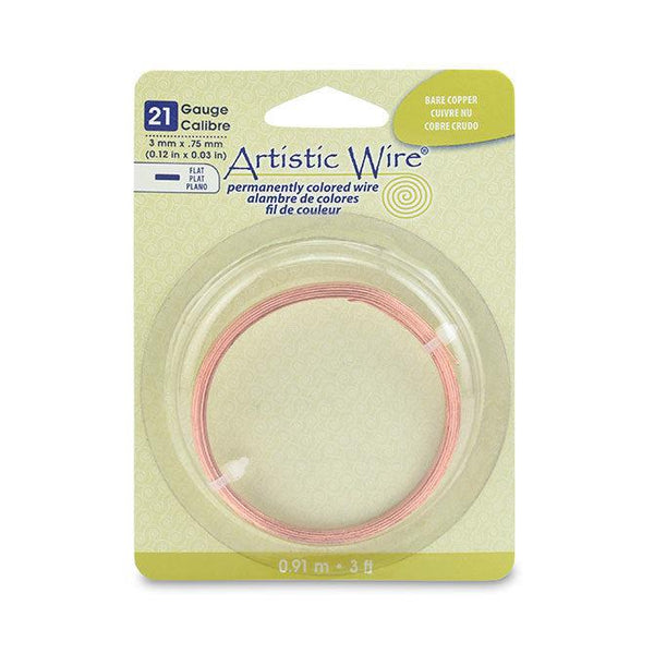 21 Gauge Copper Flat Artistic Wire 3mm (3ft)
