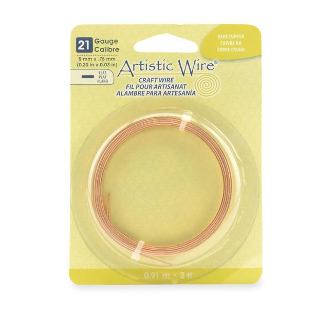 21 Gauge Bare Copper Flat Artistic Wire 5mm (3ft) - The Bead Chest