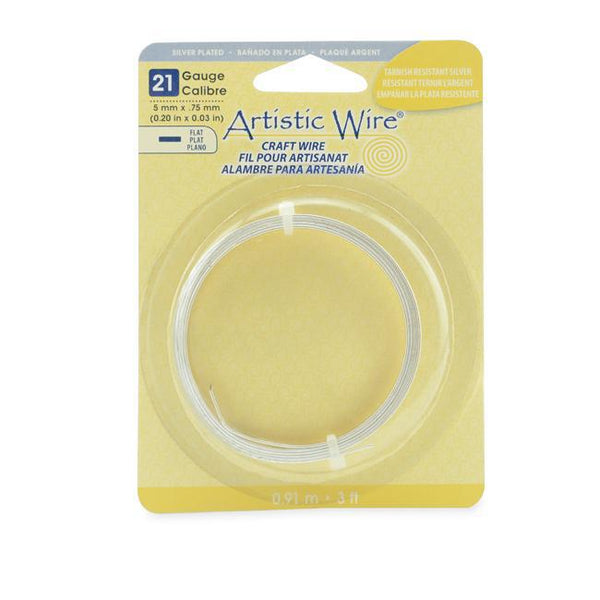 21 Gauge Tarnish Resistant Silver Flat Artistic Wire 5mm (3ft) - The Bead Chest