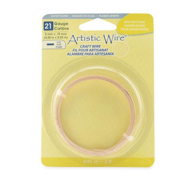 21 Gauge Rose Gold Color Flat Artistic Wire 5mm (3ft) - The Bead Chest