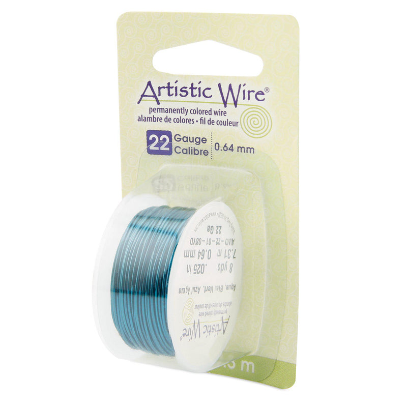 22 Gauge Aqua Artistic Wire (24ft) - The Bead Chest
