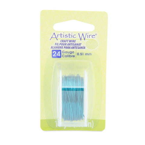 24 Gauge Aqua Artistic Wire (30ft) - The Bead Chest