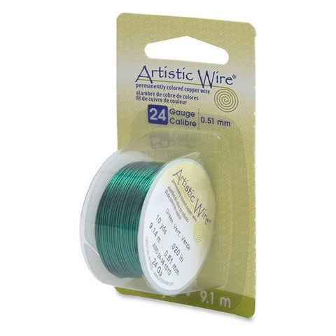 24 Gauge Green Artistic Wire (30ft) - The Bead Chest