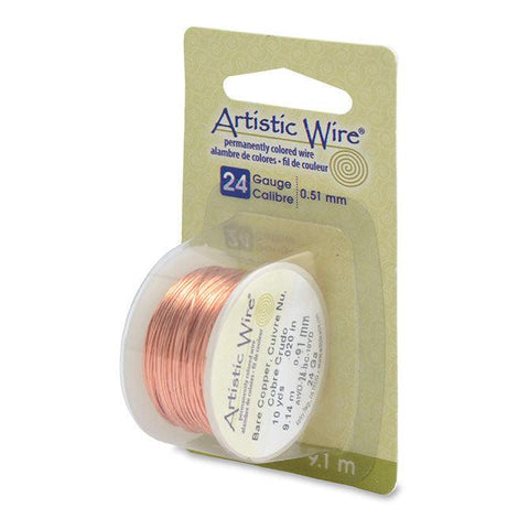 24 Gauge Bare Copper Artistic Wire (30ft) - The Bead Chest