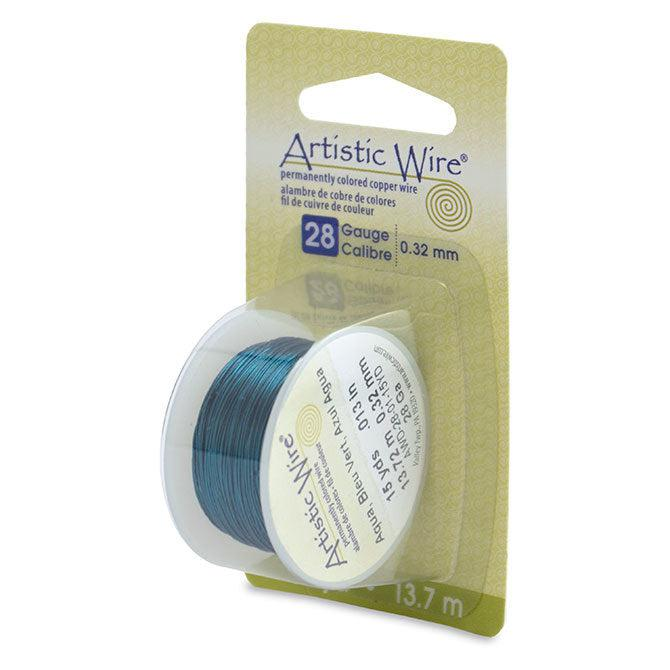 28 Gauge Aqua Artistic Wire (45ft) - The Bead Chest