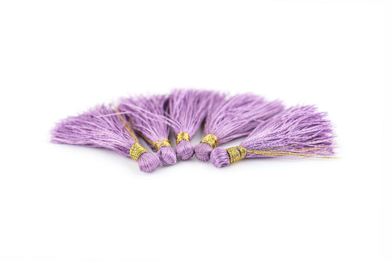 Light Purple 3cm Silk Tassels (5 Pack) - The Bead Chest