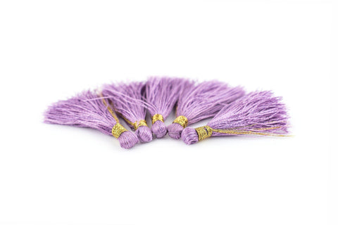 Image of Light Purple 3cm Silk Tassels (5 Pack) - The Bead Chest