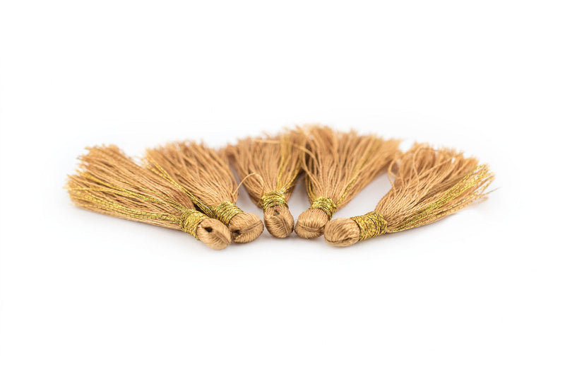 Brass 3cm Silk Tassels (5 Pack) - The Bead Chest