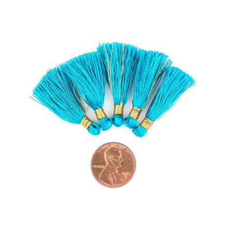 Image of Teal 3cm Silk Tassels (5 Pack) - The Bead Chest