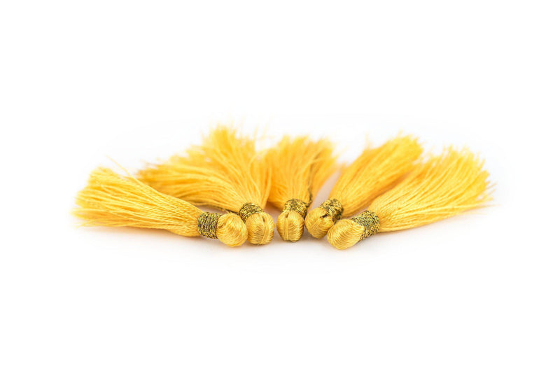 Yellow 3cm Silk Tassels (5 Pack) - The Bead Chest