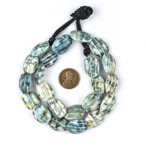 Green Picasso Shell Beads (20x14mm) - The Bead Chest