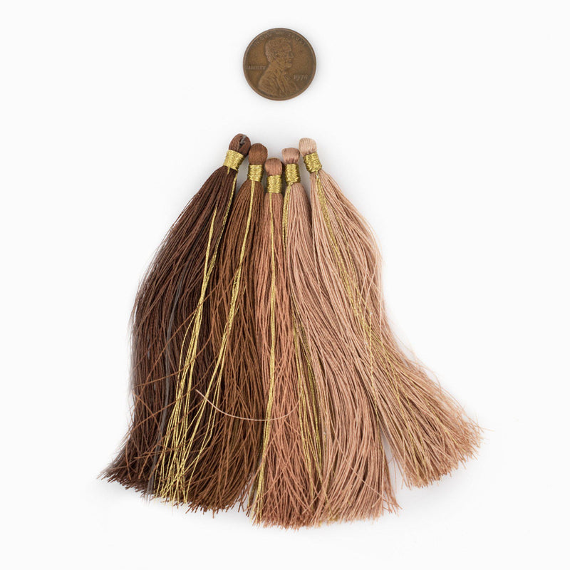 Shades of Brown: 9cm Silk Tassels (5 Pack) - The Bead Chest