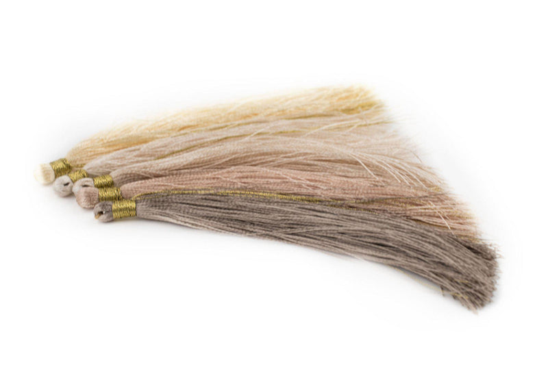 Shades of Beige: 9cm Silk Tassels (5 Pack) - The Bead Chest