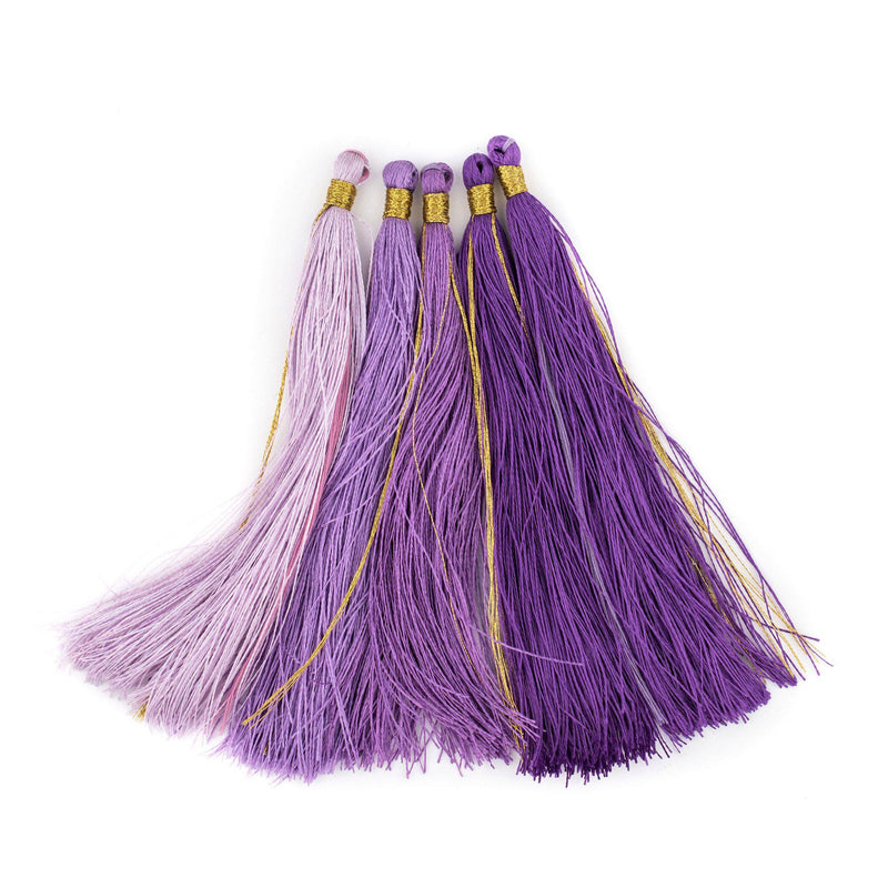 Shades of Purple: 9cm Silk Tassels (5 Pack) - The Bead Chest